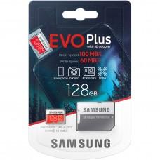 Карта памяти microSD Samsung Evo Plus (U3) 128 Гб с переходником SD