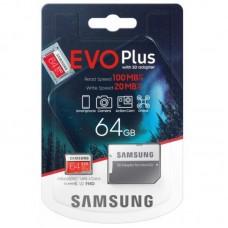 Карта памяти microSD Samsung Evo Plus (U3) 64 Гб с переходником SD