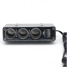 Разветвитель автомобильного прикуривателя на 3 гнезда + USB разъем