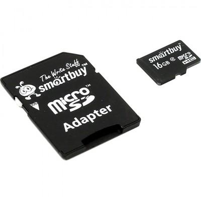 Карта памяти microSD SmartBuy 16 Гб Class 10 с переходником SD